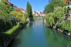 Ljubljanica river and old city center, Ljubljana, Slovenia Royalty Free Stock Images