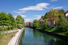 Ljubljanica river and promenade Royalty Free Stock Photo
