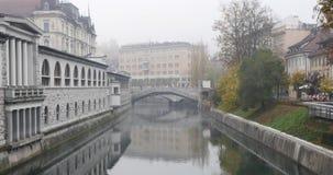 Ljubljanica river and Three bridges in the stock video