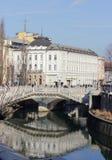 Ljubljanica river and the Three Bridges, Ljubljana. Centre of the city of Ljubljana with Ljubljanica river and the Three Bridges - architecture of Jozef Plecnik Stock Photos