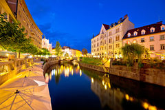 Ljubljanica river waterfront in Ljubljana evening view Stock Photo