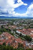 Ljubljanica. Top view of Ljubljana and Ljubljanica river, Slovenia Royalty Free Stock Photo