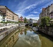 Ljubljanica 2. View of the Ljubljanica river, Ljubljana, Slovenia Royalty Free Stock Photos