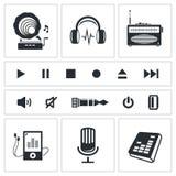 Ljud- och musiksymbolsuppsättning Royaltyfri Bild