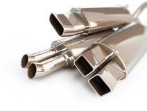 Ljuddämpare för avgasrörljuddämparebil. illustrationer 3d Arkivbilder