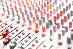 Ljudsignal blandande konsolcloseup Royaltyfri Bild