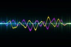 Ljudsignal digital utjämnareteknologi, pulsmusikal abstrakt begrepp av så Fotografering för Bildbyråer