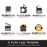 Ljudsignal Logo Template Design Vector Arkivbild