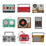 Ljudsignal musik för tappning och uppsättning för solida registreringsapparater stock illustrationer