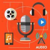 Ljudsignal produktion och podcast begrepp Arkivbilder