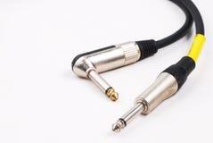 Ljudsignal stålar för gitarrkabel Royaltyfri Fotografi