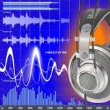 ljudsignal utjämnarehörlurar Arkivfoton
