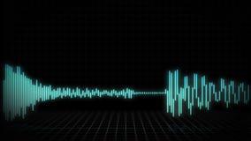 Ljudsignal waveform- eller spektrumbakgrund för reklamfilmer - 30 sekunder - blå version stock illustrationer