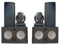 Ljudsignala högtalare för kraftig etappkonsert och strålkastareprojektorer Arkivfoton
