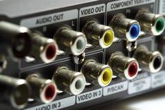 Ljudsignala videopp anslutningar A fotografering för bildbyråer