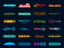 Ljudsignala waveformsignaler, vågsångutjämnare, stereo- registreringsapparatljudvisualization Filmmusiksignal och meloditakt royaltyfri illustrationer