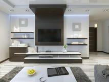 Ljudsignalsystem med TV och hyllor i vardagsrumsamtidan Fotografering för Bildbyråer