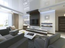 Ljudsignalsystem med TV och hyllor i vardagsrumsamtidan Royaltyfri Bild
