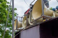 ljudsignalt svart system för hög ström Arkivbilder