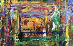 Ljus abstrakt modell av på måfå lokaliserade fläckar av målarfärg på brädet Royaltyfri Bild