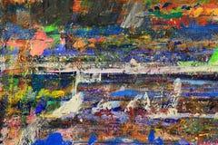 Ljus abstrakt modell av på måfå lokaliserade fläckar av målarfärg på brädet Arkivbild