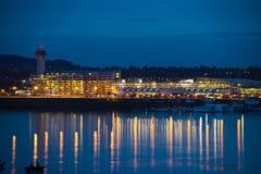 Ljus av den Portland flygplatsen Royaltyfri Bild