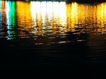 Ljus av reflektorn på vattnet Arkivbild
