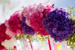 Ljus båge för blommavanlig hortensiabröllop Fotografering för Bildbyråer