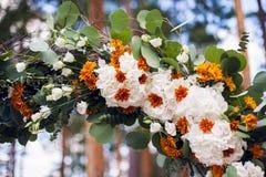Ljus båge för blommavanlig hortensiabröllop Arkivbilder