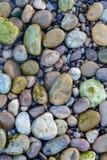 Ljus bakgrund av färgkiselstenar på stranden Royaltyfria Bilder