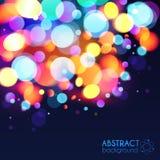 Ljus bakgrund för vektor för ljus effekt för färgbokeh Arkivfoton