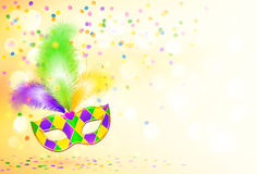 Ljus bakgrund för affisch för Mardi Gras karnevalmaskering Royaltyfri Bild