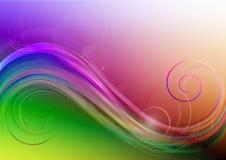 Ljus bakgrund med kulöra vågor, Â-lappar av lightoch krullning Fotografering för Bildbyråer