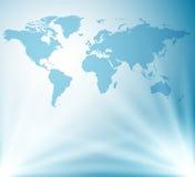 Ljus - blå bakgrund med översikten av världen Fotografering för Bildbyråer