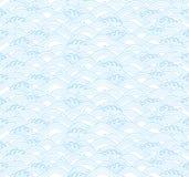 Ljus - blå bakgrund med japanska vågor Arkivfoto