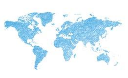 Ljus - blå grungy översikt av världen - kontinenter royaltyfri illustrationer