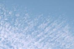 Ljus blå himmel för Cirrocumulusmoln utom fara i eftermiddagen arkivfoto