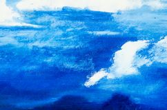 Ljus - blå målarfärg och vitmålarfärg Arkivfoto