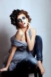 Ljus blå makeup för kvinnaframsida. Fantasi glamour royaltyfria bilder