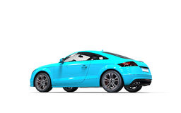 Ljus blå metallisk bil på vit bakgrund Arkivfoto