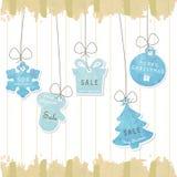 Ljus - blå pastellfärgad etikett på julbakgrund Arkivbild