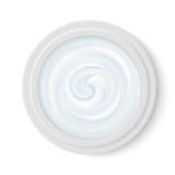 Ljus - blå realistisk skönhetsmedelkräm i bästa sikt för packebehållare Kosmetisk produkt för framsidahudomsorg vektor royaltyfri illustrationer