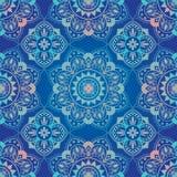 Ljus, blå sömlös orientalisk prydnad Arkivbilder