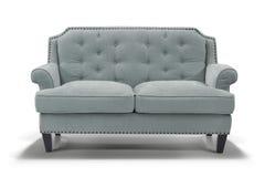 Ljus - blå soffa, främre sikt royaltyfri fotografi