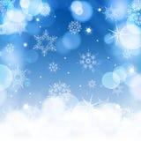 Ljus - blå suddighetsbakgrund för jul med Royaltyfria Foton