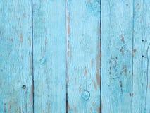 Ljus - blå trästaketbakgrund Royaltyfria Foton