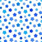 Ljus blå vattenfärgstjärnabakgrund kan kopieras utan några sömmar teckningen hand henne morgonunderkläder upp varmt kvinnabarn oc stock illustrationer