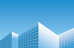 Ljus - blåa byggnader på horisont - bakgrund royaltyfri illustrationer