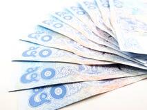 Ljus - blåa sedlar, pengar, värderar 50 av en räkning, thai nummer Royaltyfri Bild