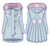 Ljus - blått grov bomullstvilllag med rosa färgpäls och gullig smyckning stock illustrationer